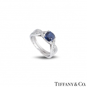 Tiffany & Co. Platinum Sapphire and Diamond Ring